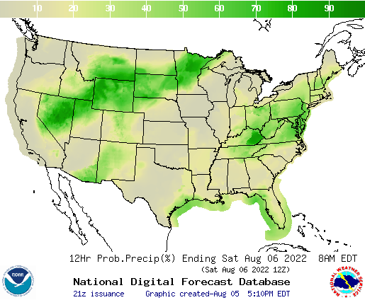 United States 12 to 24 Hour Precipitation Probability