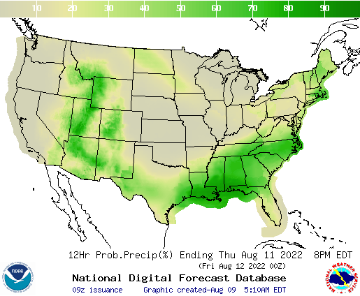 United States 60 to 72 Hour Precipitation Probability