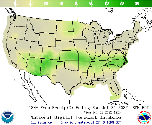 United States 72 to 84 Hour Precipitation Probability