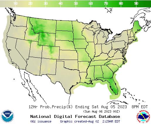United States 84 to 96 Hour Precipitation Probability