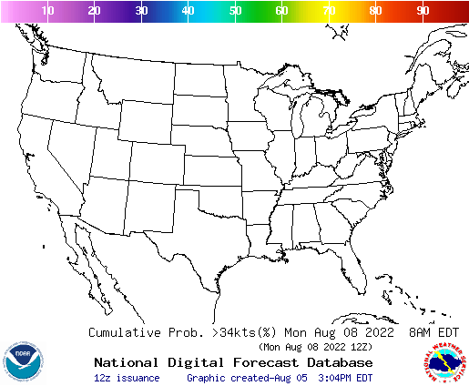 US 72 Hour Wind Speeds Greater Than 34 Knots Probability Forecast