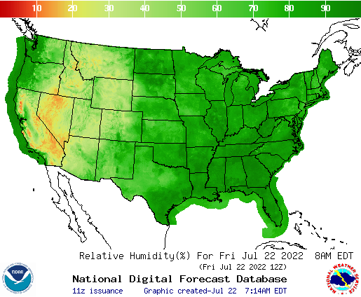 U.S. relative humidity forecasts for the next 7 days