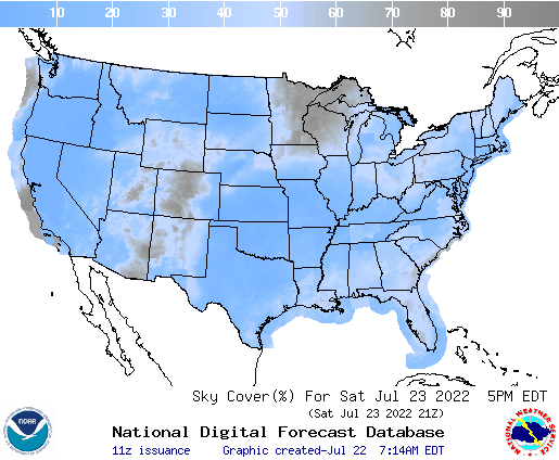 United States 36 Hour Cloud Cover Forecast