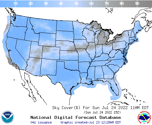 United States 42 Hour Cloud Cover Forecast