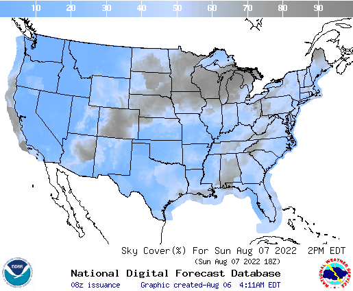 United States 45 Hour Cloud Cover Forecast