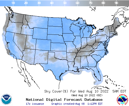 United States 48 Hour Cloud Cover Forecast