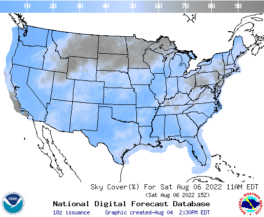 United States 54 Hour Cloud Cover Forecast