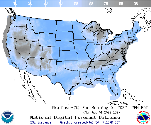 United States 57 Hour Cloud Cover Forecast