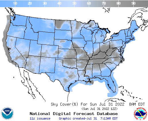 U.S. cloud cover forecasts for the next 7 days
