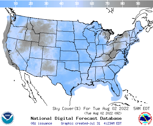 United States 60 Hour Cloud Cover Forecast