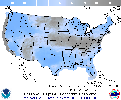United States 63 Hour Cloud Cover Forecast