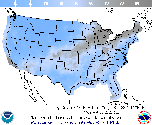 United States 66 Hour Cloud Cover Forecast