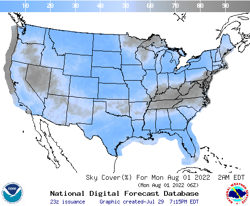 United States 69 Hour Cloud Cover Forecast