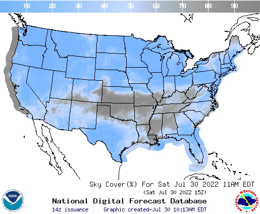 United States 6 Hour Cloud Cover Forecast