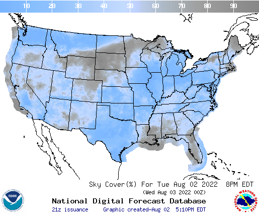 United States 15 Hour Cloud Cover Forecast