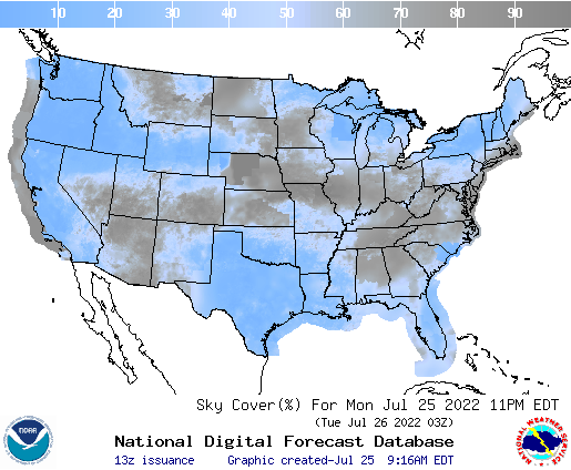 United States 18 Hour Cloud Cover Forecast