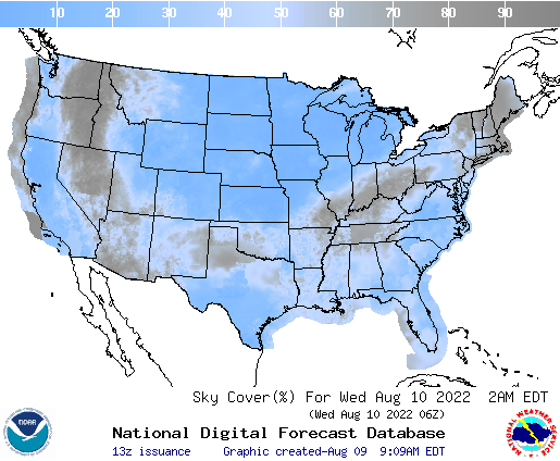 United States 21 Hour Cloud Cover Forecast