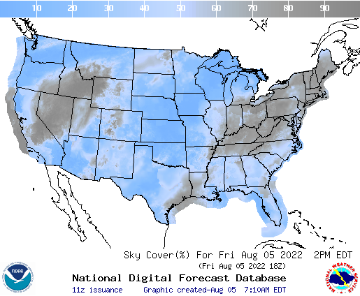 Sky cover forecast from National Weather Service