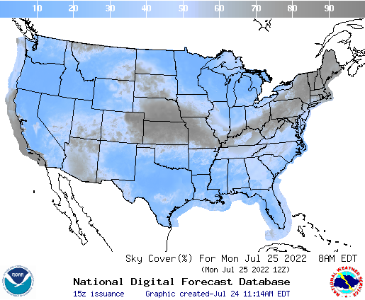 United States 27 Hour Cloud Cover Forecast