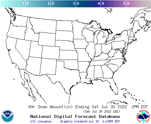 U.S. 6 hourly forecast snow accumulations