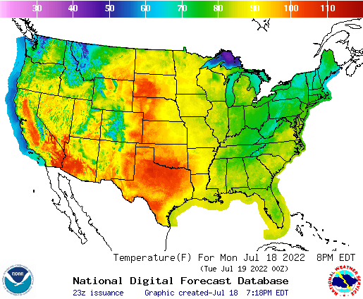 NWS US Current Temperatures The Feed - Us current temperature map