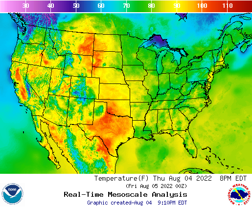 NOAA Temperature Map