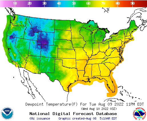 Weather Street: U.S. Dewpoint Temperature Forecast