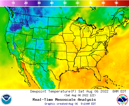 Weather Street US Dewpoint Temperature Forecast - Us map forecast