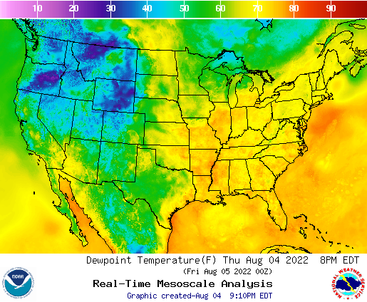 U.S. 7 Day Dewpoint Temperature Forecast