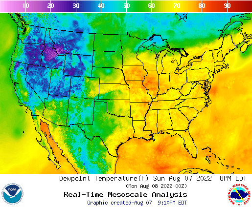 Dewpoint temperature forecast map of U.S.