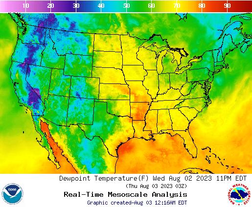 Weather Street: U.S. Dewpoint Temperature Forecast