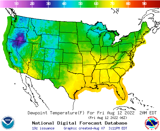 Weather Street US Dewpoint Temperature Forecast - Us dewpoint map