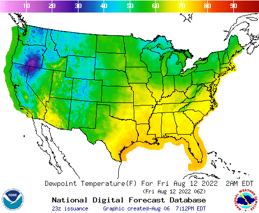 Weather Street US Dewpoint Temperature Forecast