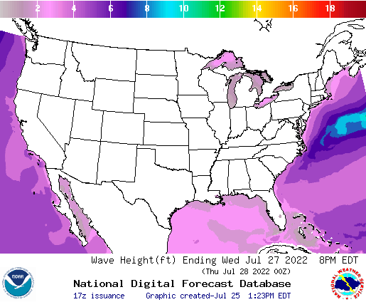 United States 54 Hour Wave Height(ft) Forecast