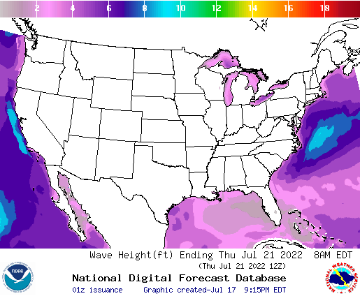 United States 78 Hour Wave Height(ft) Forecast