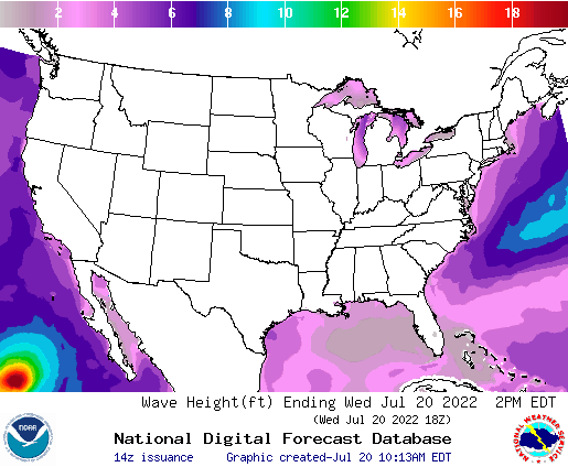United States 0 Hour Wave Height(ft) Forecast