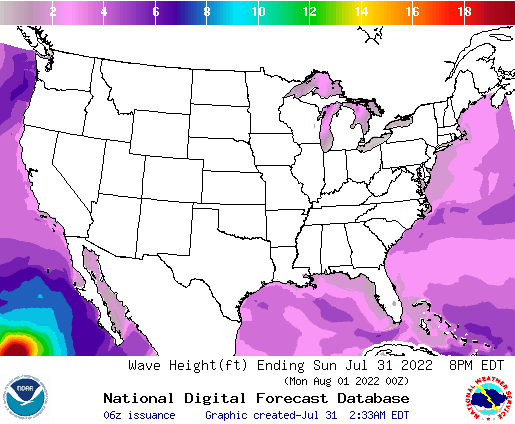 United States 18 Hour Wave Height(ft) Forecast