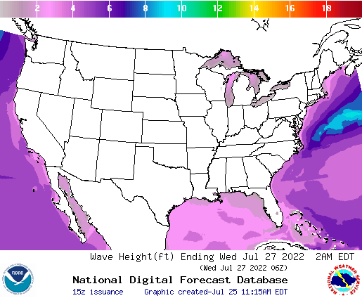 United States 36 Hour Wave Height(ft) Forecast