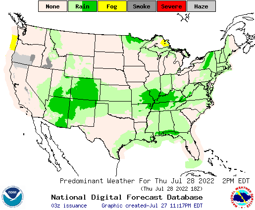 United States 21 Hour Predominant Weather Forecast