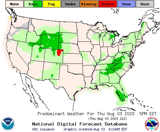 United States 24 Hour Predominant Weather Forecast