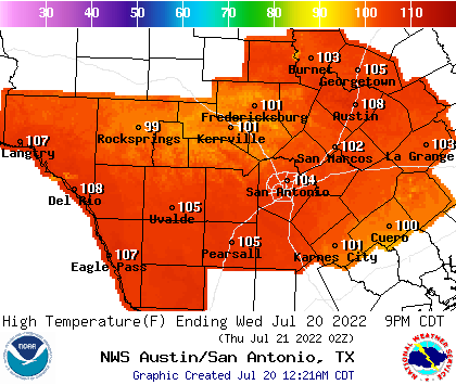 Noaa Graphical Forecast For Austin San Antonio Tx