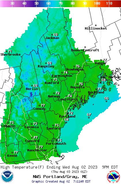 GYX Weather Tomorrows High Forecast Map