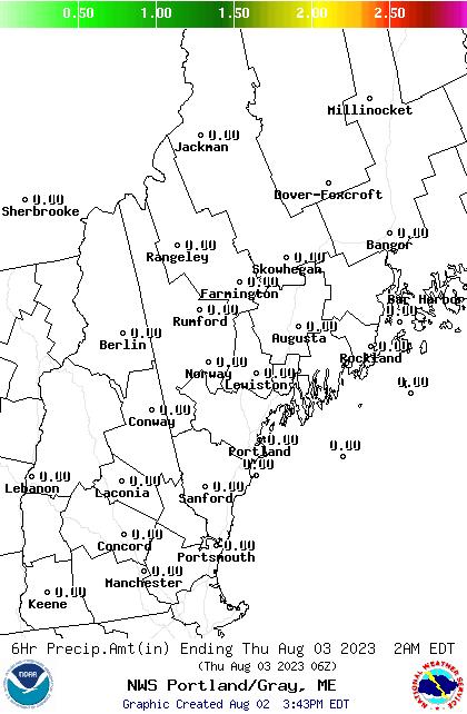 NWS GYX 12 Hour QPF Forecast Map