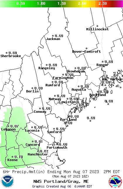 GYX 18 Hour QPF Forecast Map