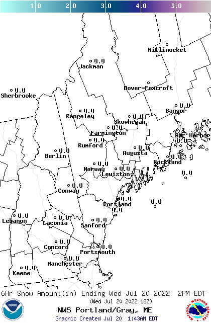 NWS GYX 18 Hour Snow Forecast