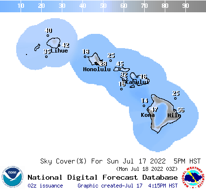 Hawaii 6 hourly forecast cloud cover