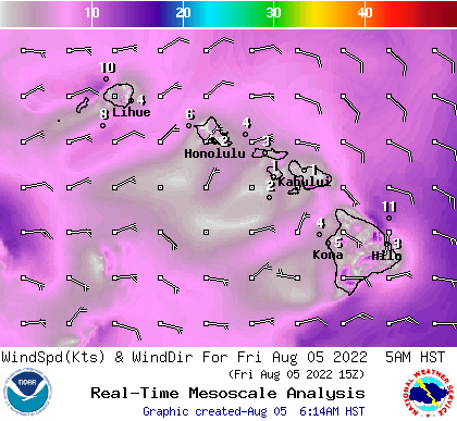 Hawaii 6 hourly wind forecast