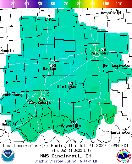 noaa graphical forecast for cincinnati  oh