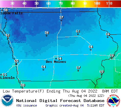 Iowa Low Temperature Forecasts for Next 7 Days