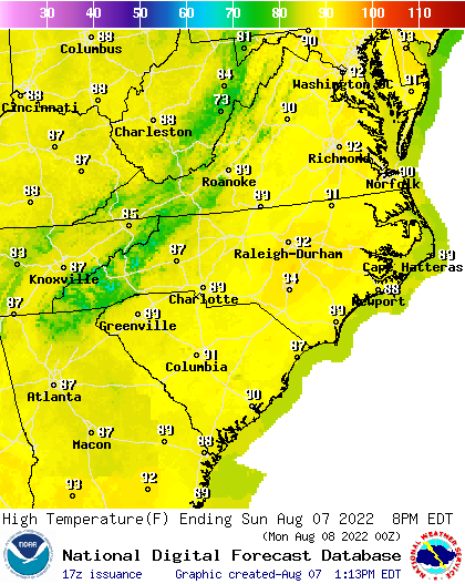 Mid Atlantic Weather Map.Noaa Graphical Forecast For Mid Atlantic